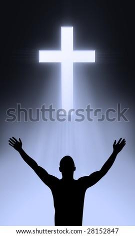 The Cross of Golgahta - Jesus Christ is alive - stock photo