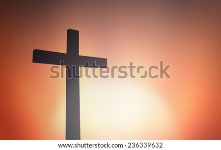 The cross on blurred sunset background. Merry Christmas Card, Thankful, Repentance, Adoration, Glorify, Peace, Evangelical, Hallelujah concept