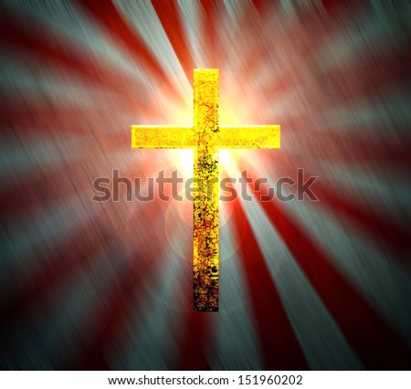 The cross on the horizon at sunset  - stock photo