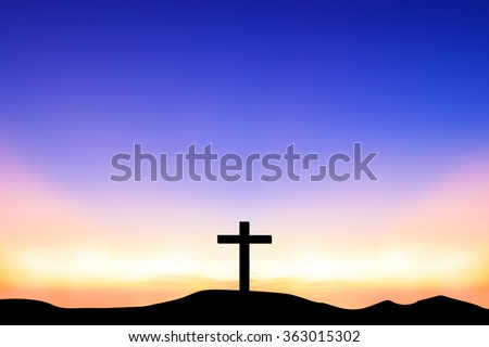 The cross on top a mountain