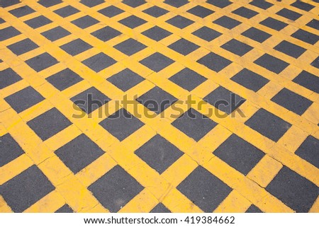The cross yellow line on road - stock photo