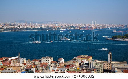 The crossroad of Bosphorus strait and Golden Horn in Istanbul. The view from Galata Tower, Turkey - stock photo