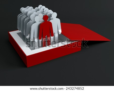 The crowd of people signs. Conception of leadership - stock photo
