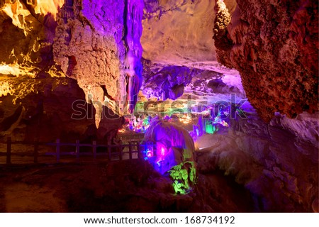the crown cave guangxi province china - stock photo