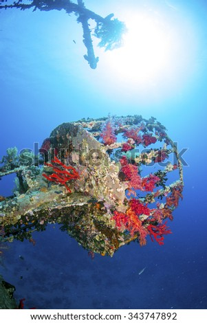 The crows nest from the wreck of the Cedar Pride, Aqaba, Red Sea, Jordan - stock photo