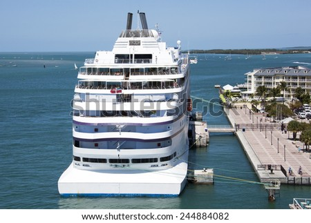 The cruise liner docked in the downtown of Key West, the southernmost city in The United States (Florida). - stock photo