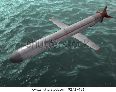 The cruise missile flies over the sea. 3d image. - stock photo