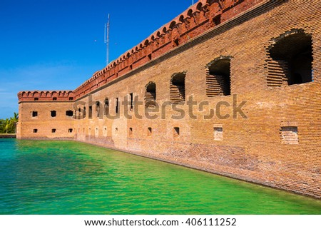 The crystal clear waters of the Gulf of Mexico surround Civil War Historic Fort Jefferson in the Dry Tortugas - stock photo