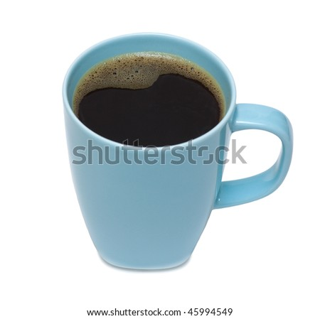 The cup of black coffee. Isolation, shallow DOF. - stock photo
