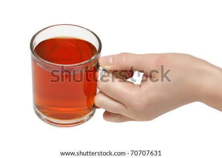 The cup of tea in female hand. Isolated on white background. - stock photo