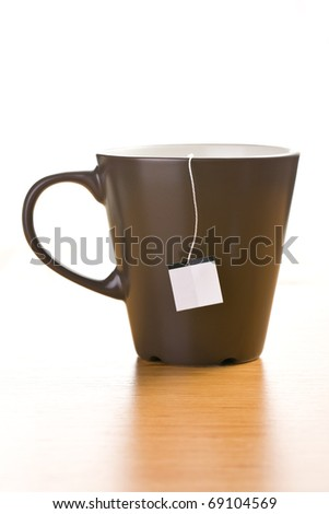 the cup of tea with blank label