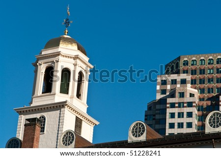The cupola dome of Faneuil Hall in Boston in horizontal view - stock photo