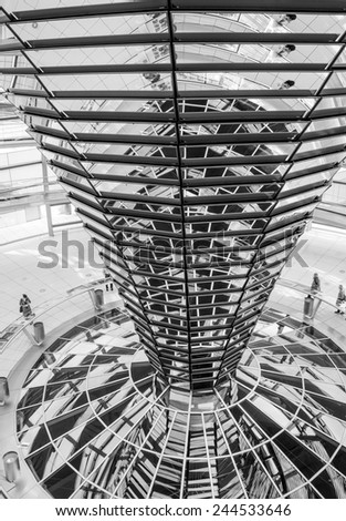 The Cupola on top of the Reichstag building in Berlin, Interior view - Germany - stock photo