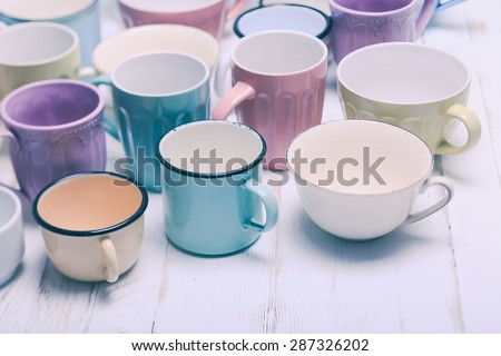 The cups in shabby chic style, vintage colors - stock photo
