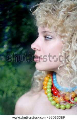 The curly-headed girl - stock photo