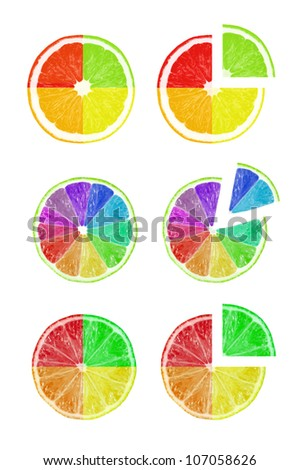 The cut fruit with flowers of a rainbow isolated on a white background