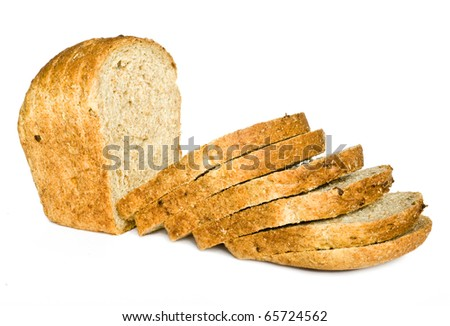 The cut loaf of bread with reflaction isolated on white - stock photo