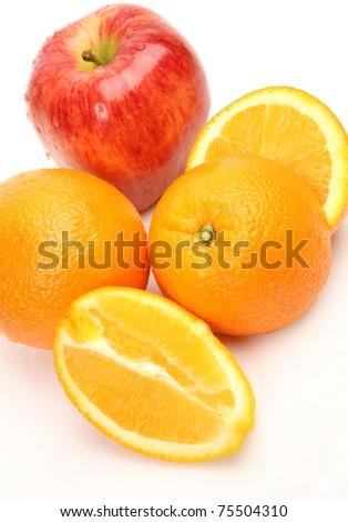 The cut orange and apple