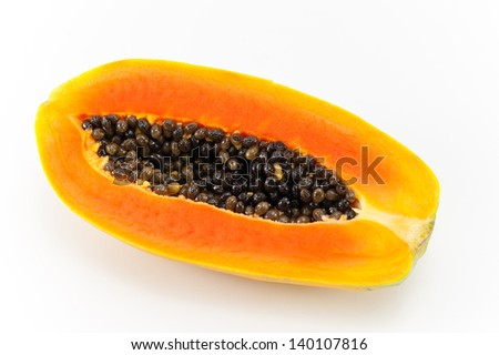 The cut papaya in half on white background