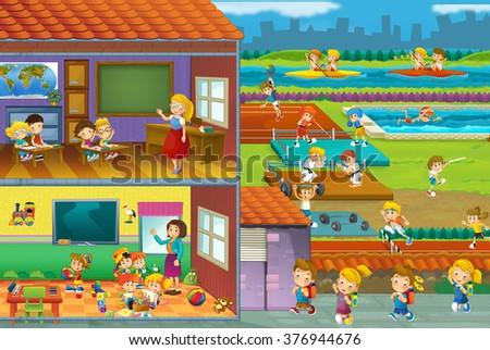 The cut through illustration - school - kids and sport - gymnastics - illustration for the children - stock photo