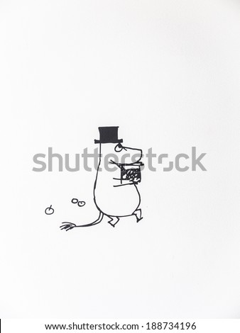 the cute hippo cartoon with black hat is running and holding the object