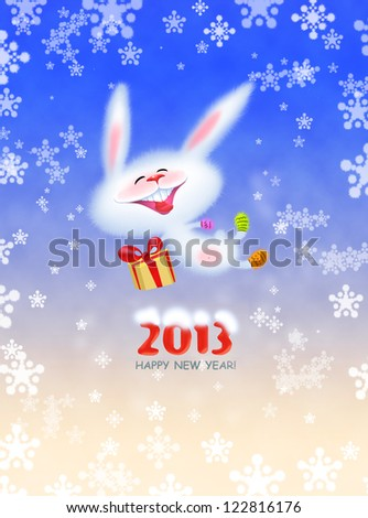 The cute jolly white bunny in knitted socks and mittens jumping and wishes you a Happy New Year 2013 - stock photo