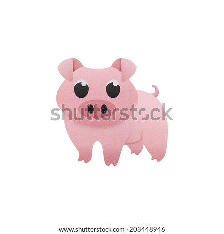 the cute pig is animal cartoon in farm of paper cut - stock photo