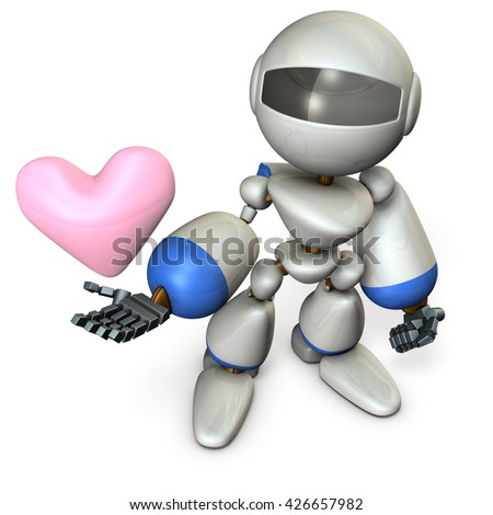 The cute robot has a sincere heart. 3D illustration, - stock photo