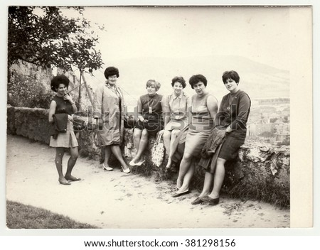 THE CZECHOSLOVAK SOCIALIST REPUBLIC - CIRCA 1960s: Vintage photo shows group of women on vacation.