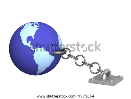 The 3d Earth, chained metal a circuit. Objects over white - stock photo