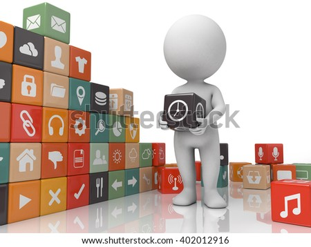 The 3d guy and a lot of Apps - stock photo
