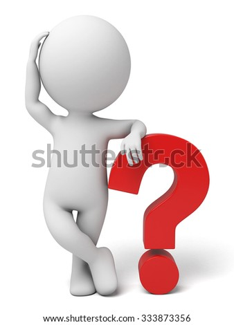 The 3d guy and a model of  question mark - stock photo
