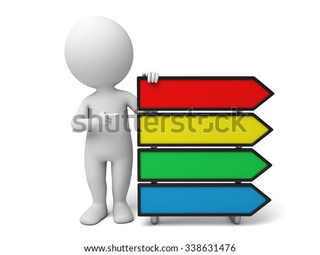 The 3d guy and a multiple options question - stock photo