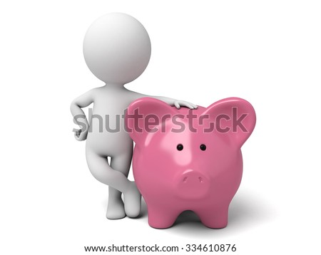 The 3D guy and a piggy bank - stock photo