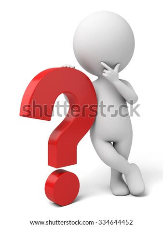 The 3d guy and a sign of question mark - stock photo