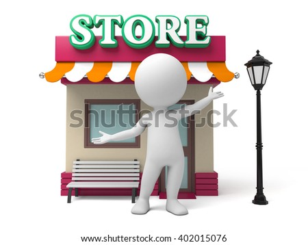 The 3d guy and his store - stock photo