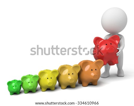 The 3D guy and the piggy bank - stock photo
