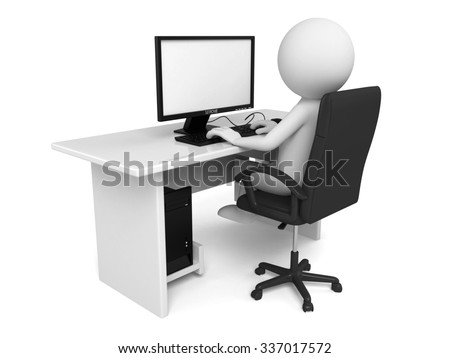 The 3d guy is a typist - stock photo