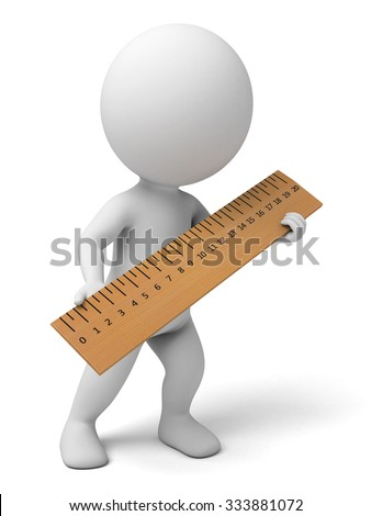 The 3d guy is measuring the length - stock photo
