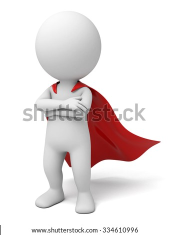 The 3D guy is the superman - stock photo