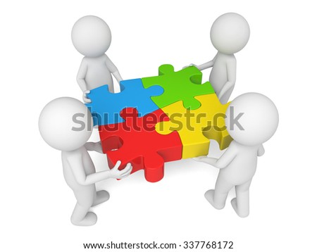 The 3d people and the picture puzzle - stock photo