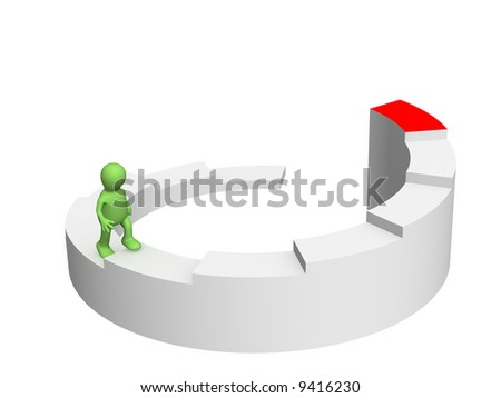 The 3d person - puppet, rising under the diagram - stock photo