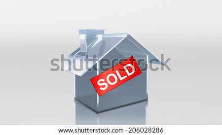 The 3D render image of investment glass house sold label - stock photo