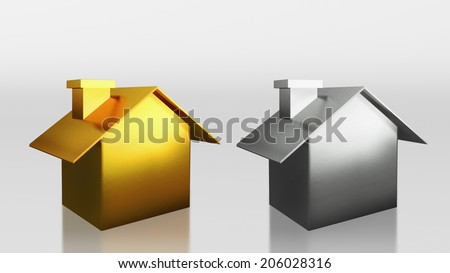 The 3D render image of investment gold and silver house compare  - stock photo