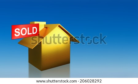 The 3D render image of investment gold house sold with blue sky background - stock photo