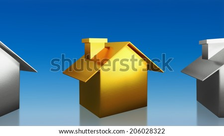 The 3D render image of investment the gold house with blue sky background - stock photo