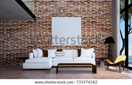 The 3d Rendering Interior Design Of Modern Living Room And White Brick Wall Background Wood