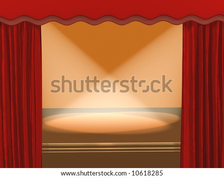 The 3d theatrical stage, covered by projectors - stock photo