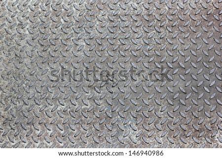 The damage metal diamond plate  - stock photo