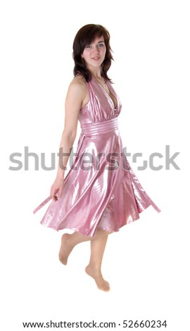 The dancing girl in a pink dress